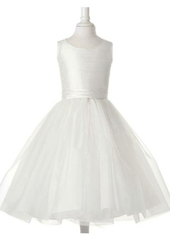 A-Line/Princess Scoop Neck Tea-Length Taffeta Tulle Flower Girl Dress With Ruffle