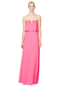 A-Line/Princess Strapless V-neck Floor-Length Chiffon Evening Dress