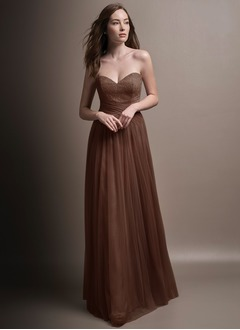 Empire Strapless Sweetheart Floor-Length Tulle Bridesmaid Dress With Lace Pleated