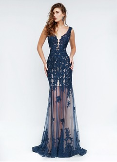Sheath/Column V-neck Sweep Train Tulle Evening Dress With Beading Appliques Lace