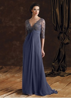 Empire V-neck Sweep Train Chiffon Lace Mother of the Bride Dress With Beading