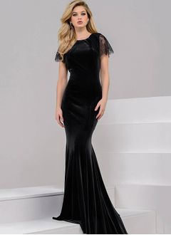 Trumpet/Mermaid Scoop Neck Sweep Train Velvet Evening Dress With Lace