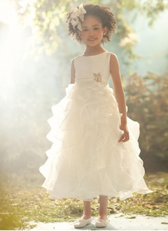 A-Line/Princess Scoop Neck Ankle-Length Organza Satin Flower Girl Dress With Beading Cascading Ruffles