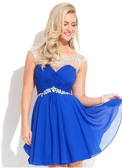 A-Line/Princess Sweetheart Short/Mini Chiffon Prom Dress With Ruffle Beading (0185059757)