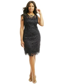 Sheath/Column Scoop Neck Knee-Length Charmeuse Lace Evening Dress