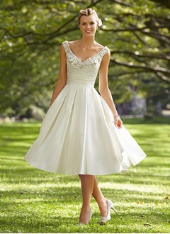 A-Line/Princess V-neck Knee-Length Satin Wedding Dress With Ruffle Beading