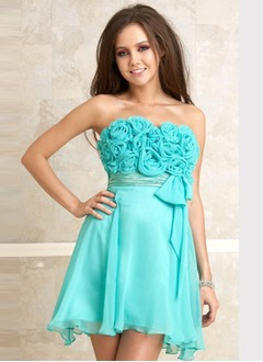 Empire Strapless Short/Mini Chiffon Charmeuse Homecoming Dress With Ruffle Flower(s) Bow(s)