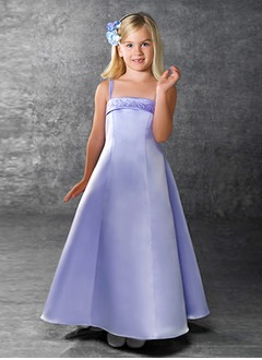 A-Line/Princess Strapless Floor-Length Satin Flower Girl Dress With Embroidered