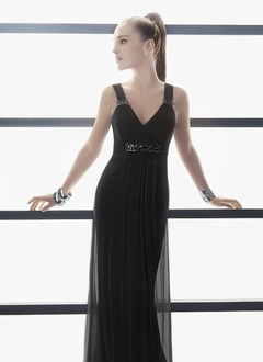 Sheath/Column V-neck Floor-Length Satin Tulle Evening Dress With Ruffle Beading