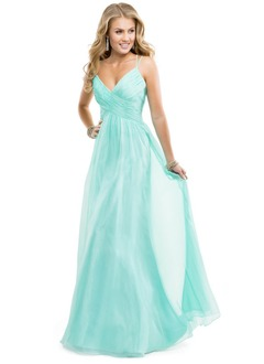 A-Line/Princess Sweetheart Floor-Length Chiffon Prom Dress With Ruffle