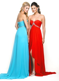 A-Line/Princess Strapless Sweetheart Sweep Train Charmeuse Prom Dress With Ruffle Beading Split Front