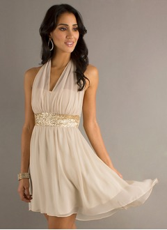 A-Line/Princess Halter Asymmetrical Chiffon Cocktail Dress  ...