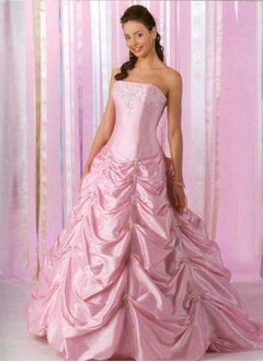 Ball-Gown Strapless Floor-Length Taffeta Quinceanera Dress With Beading