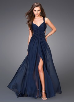 A-Line/Princess V-neck Floor-Length 30D Chiffon Evening Dress With Beading Split Front