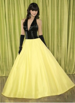 Ball-Gown Halter Floor-Length Taffeta Tulle Quinceanera Dress