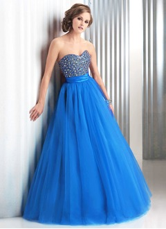 Ball-Gown Strapless Sweetheart Floor-Length Tulle Charmeuse Prom Dress With Ruffle Beading Sequins