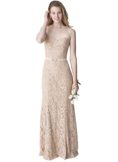 Sheath/Column Scoop Neck Floor-Length Lace Bridesmaid Dress