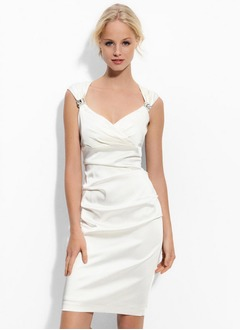 Sheath/Column V-neck Knee-Length Charmeuse Cocktail Dress With Ruffle Beading