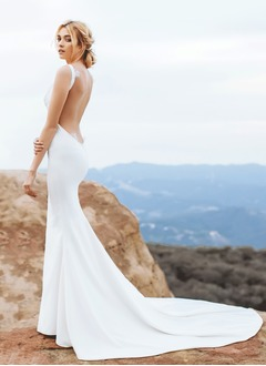 Trumpet/Mermaid Cowl Neck Court Train Chiffon Wedding Dress With Ruffle Lace