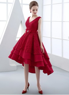 A-Line/Princess V-neck Asymmetrical Satin Lace Cocktail Dress With Bow(s)