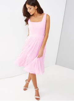A-Line/Princess Square Neckline Knee-Length Tulle Bridesmaid Dress With Beading