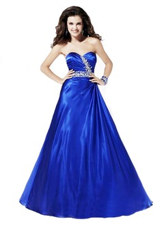 Ball-Gown Strapless Sweetheart Floor-Length Charmeuse Quinceanera Dress With Ruffle Beading