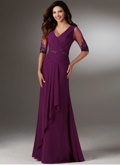 Sheath/Column V-neck Sweep Train Chiffon Mother of the Bride Dress With Ruffle Beading