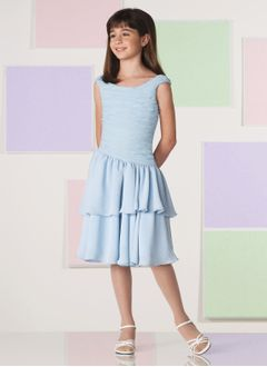 A-Line/Princess Scoop Neck Knee-Length Chiffon Charmeuse Flower Girl Dress With Ruffle