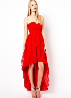 A-Line/Princess Sweetheart Asymmetrical Chiffon Homecoming Dress With Ruffle