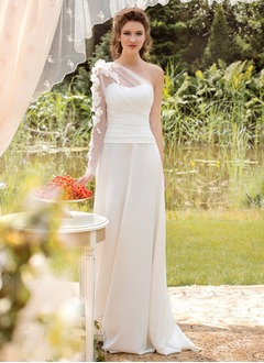 A-Line/Princess One-Shoulder Sweep Train Chiffon Tulle Wedding Dress With Ruffle Flower(s)