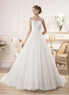 Ball-Gown Scoop Neck Court Train Tulle Wedding Dress With Beading Appliques Lace Bow(s)