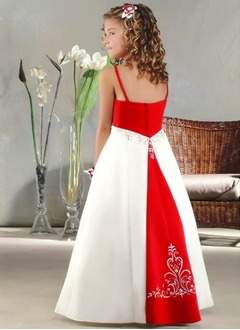 A-Line/Princess Scoop Neck Floor-Length Satin Flower Girl Dress With Embroidered