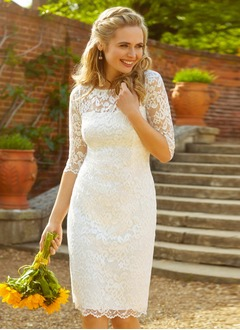 Sheath/Column Scoop Neck Knee-Length Lace Wedding Dress  ...