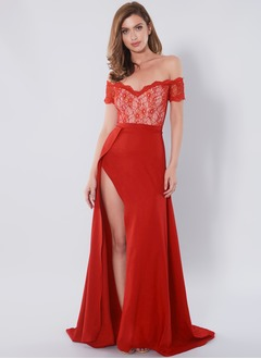 A-Line/Princess V-neck Off-the-Shoulder Sweep Train Charmeuse Prom Dress With Lace Split Front