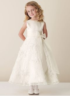 A-Line/Princess Scoop Neck Ankle-Length Organza Satin Lace Flower Girl Dress With Sash Bow(s)