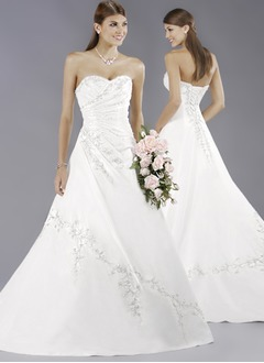 A-Line/Princess Strapless Sweetheart Court Train Satin Wedding Dress With Embroidered Ruffle Beading Sequins