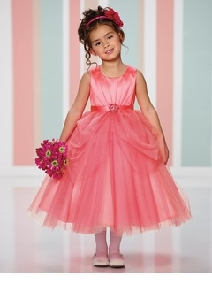 A-Line/Princess Scoop Neck Tea-Length Satin Tulle Flower Girl Dress With Ruffle Beading