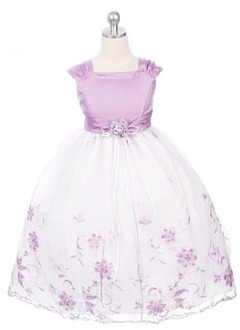 A-Line/Princess Square Neckline Tea-Length Organza Charmeuse Flower Girl Dress With Appliques Lace Flower(s) Bow(s)