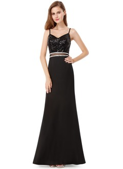 A-Line/Princess V-neck Floor-Length Chiffon Sequined Evening Dress With Sequins