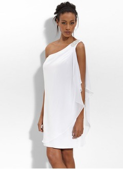 Sheath/Column One-Shoulder Short/Mini Chiffon Wedding Dress With Ruffle Beading