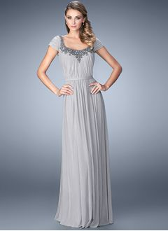 A-Line/Princess Square Neckline Floor-Length Chiffon Mother of the Bride Dress With Appliques Lace Pleated