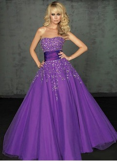 Ball-Gown Strapless Sweetheart Floor-Length Tulle Prom Dress With Sash Beading