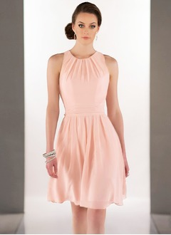 A-Line/Princess Scoop Neck Short/Mini Chiffon Bridesmaid Dress With Ruffle (0075119686)