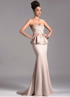 Trumpet/Mermaid Strapless Sweetheart Sweep Train Satin Lace Evening Dress With Beading