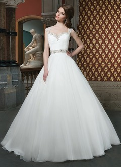 Ball-Gown Sweetheart Cathedral Train Tulle Wedding Dress With Ruffle Beading