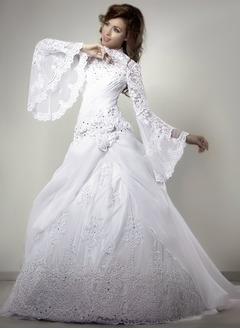 Ball-Gown High Neck Chapel Train Organza Lace Wedding Dress With Ruffle Beading Flower(s) Sequins