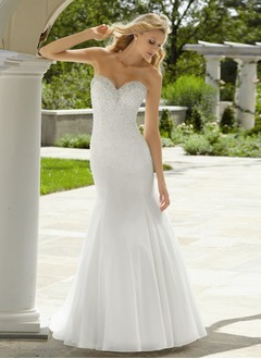 Trumpet/Mermaid Strapless Sweep Train Organza Satin Wedding Dress With Beading