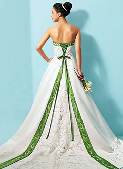 A-Line/Princess Strapless Cathedral Train Satin Wedding Dress With Embroidered Sash Beading