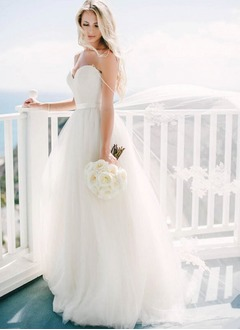 A-Line/Princess V-neck Sweep Train Satin Tulle Wedding Dress (0025132156)