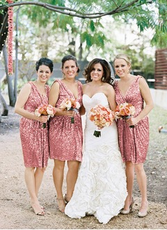Sheath/Column V-neck Knee-Length Sequined Bridesmaid Dress With Ruffle